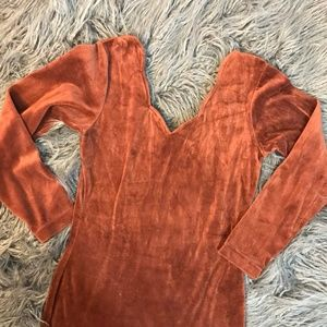 Brown Velour Vintage Party Dress curved neckline S